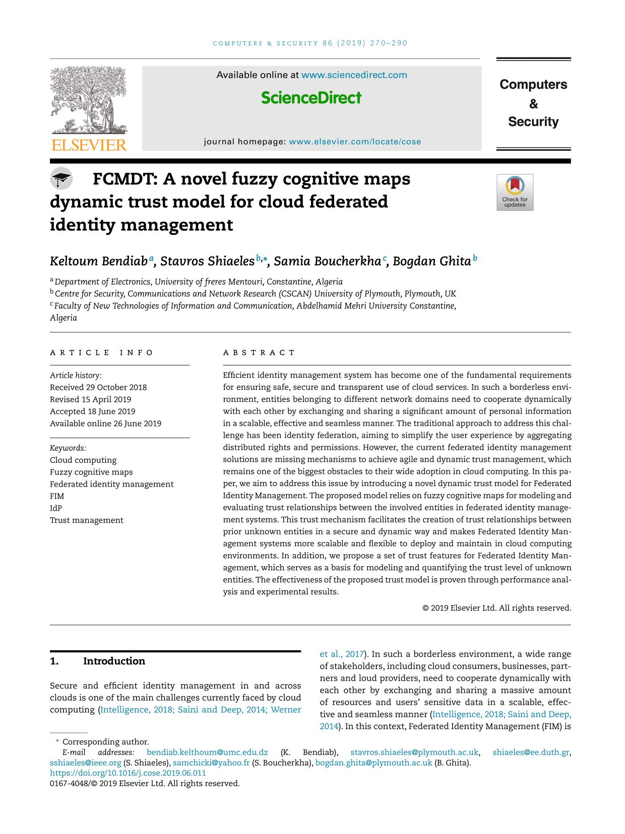 Book cover FCMDT: A novel fuzzy cognitive maps dynamic trust model for cloud federated identity management