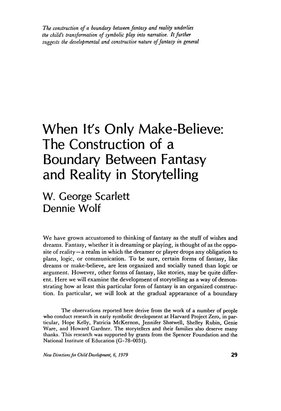 Book cover When it's only make-believe: The construction of a boundary between fantasy and reality in storytelling