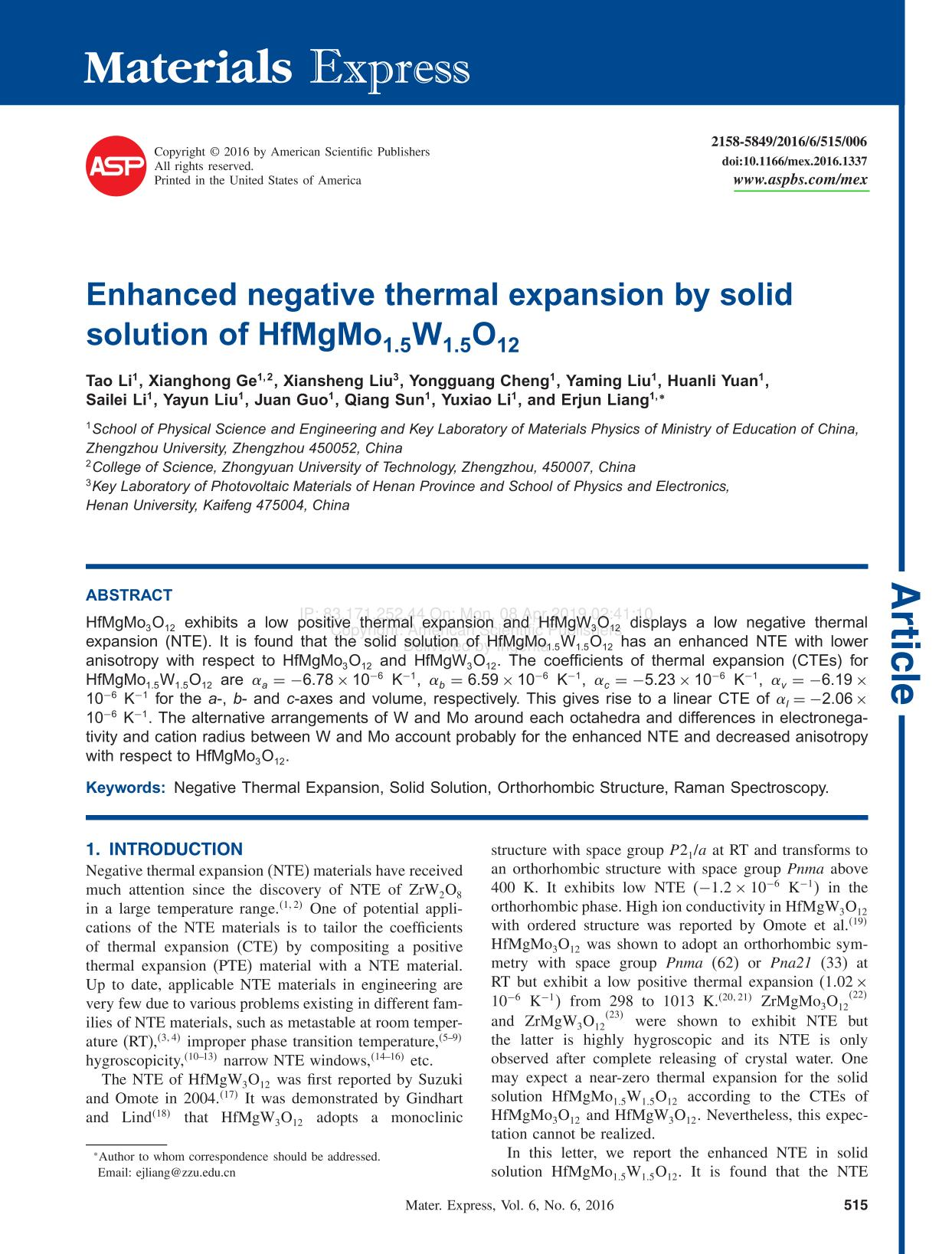 Book cover Enhanced negative thermal expansion by solid solution of HfMgMo
