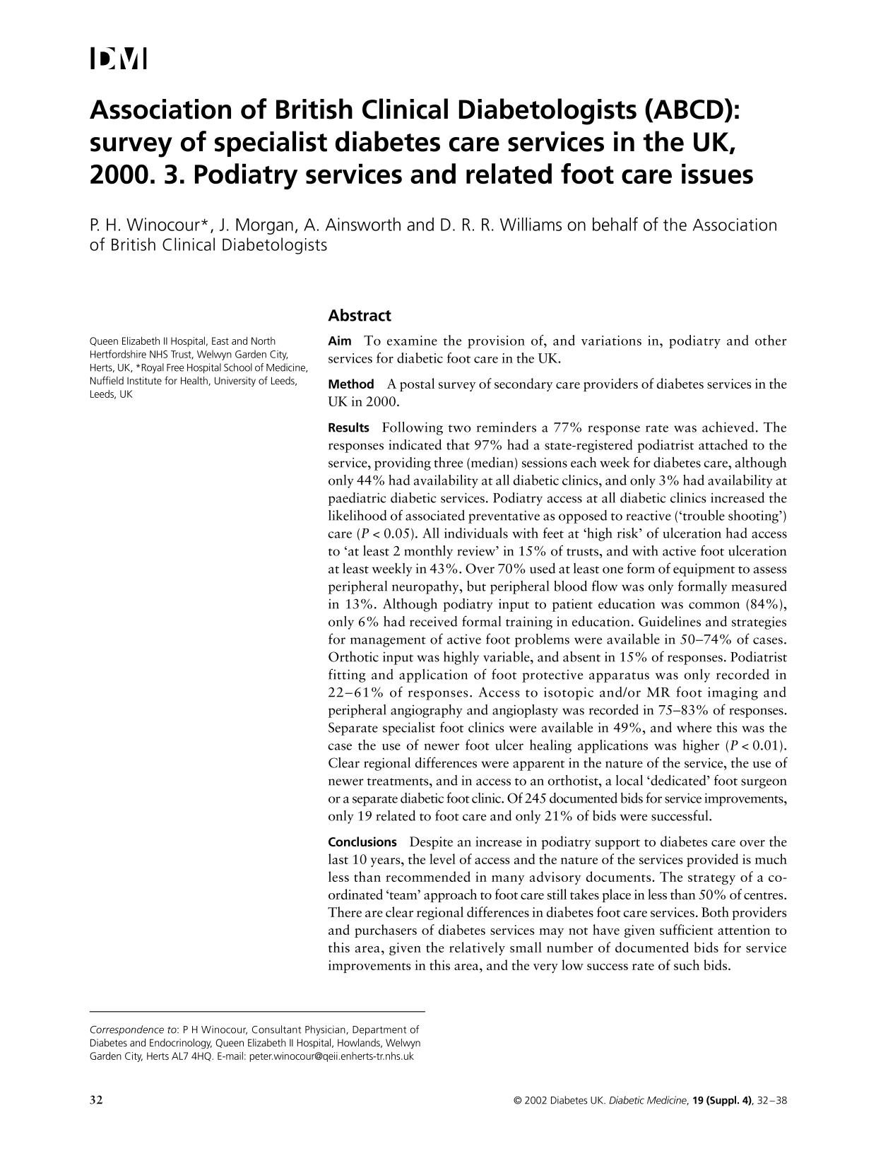 Book cover Association of British Clinical Diabetologists (ABCD): survey of specialist diabetes care services in the UK, 2000. 3. Podiatry services and related foot care issues