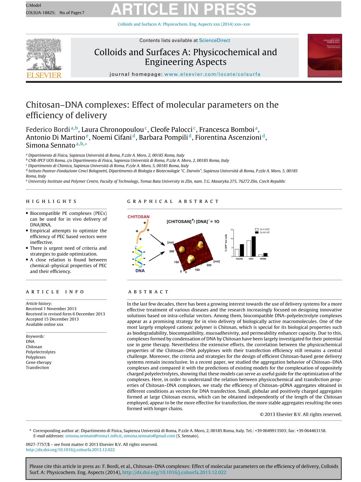 Κάλυψη βιβλίων Chitosan–DNA complexes: Effect of molecular parameters on the efficiency of delivery