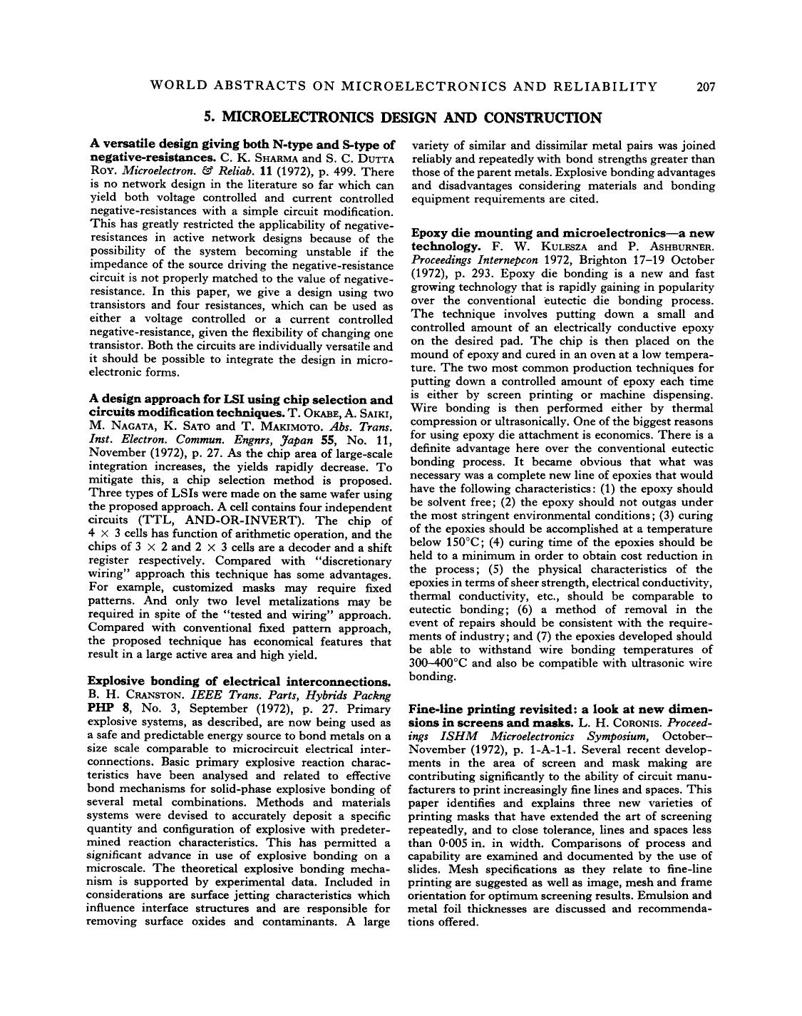 Kover buku A design approach for LSI using chip selection and circuits modification techniques : T. Okabe, A. Saiki, M. Nagata, K. Sato and T. Makimoto. Abs. Trans. Inst. Electron. Commun. Engnrs, Japan 55, No. 11, November (1972), p. 27