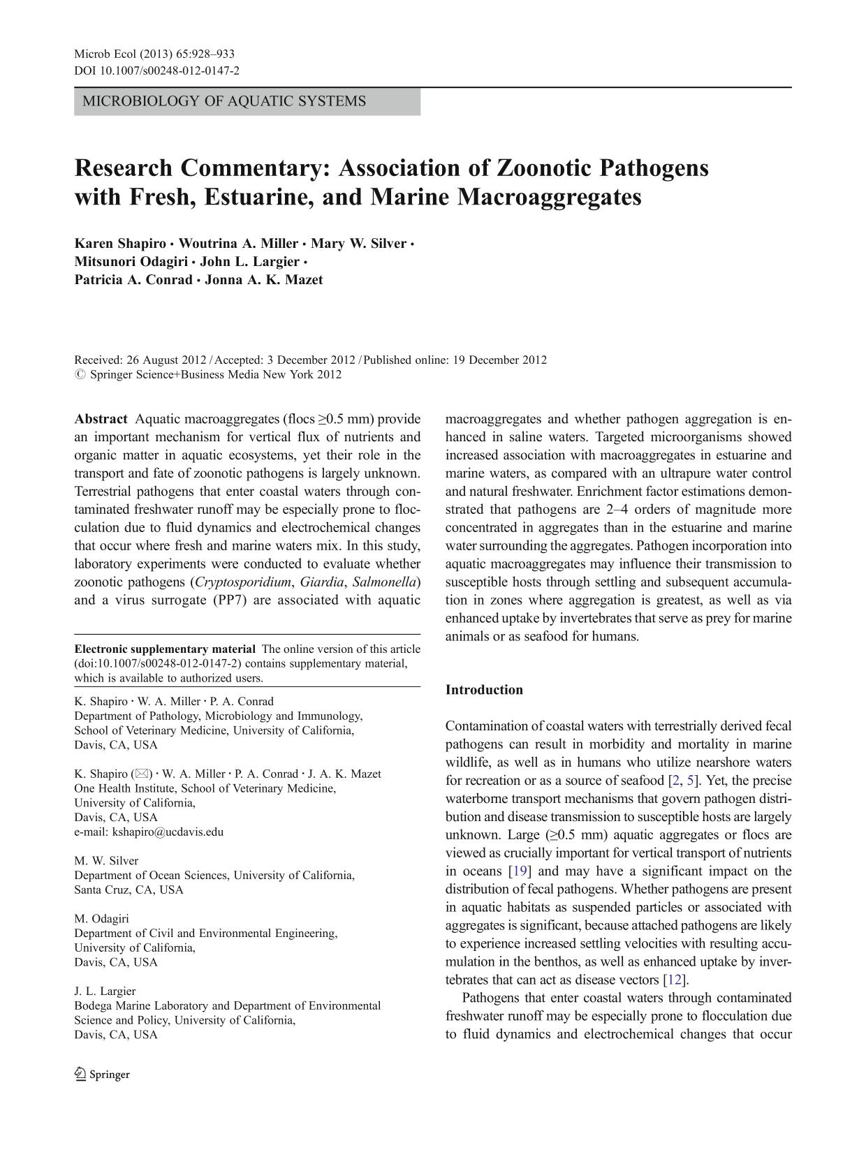 Book cover Research Commentary: Association of Zoonotic Pathogens with Fresh, Estuarine, and Marine Macroaggregates