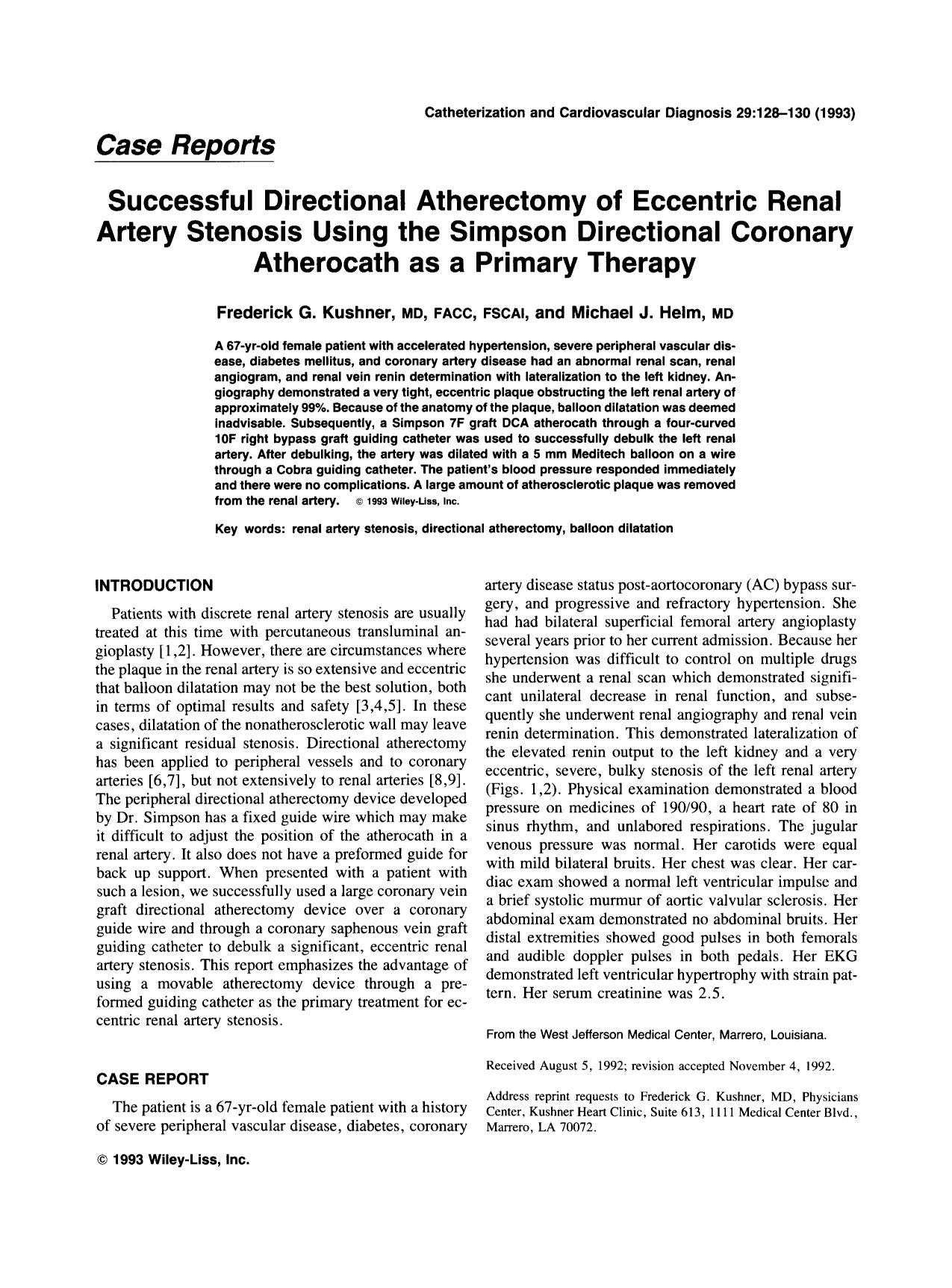 Book cover Successful directional atherectomy of eccentric renal artery stenosis using the simpson directional coronary atherocath as a primary therapy