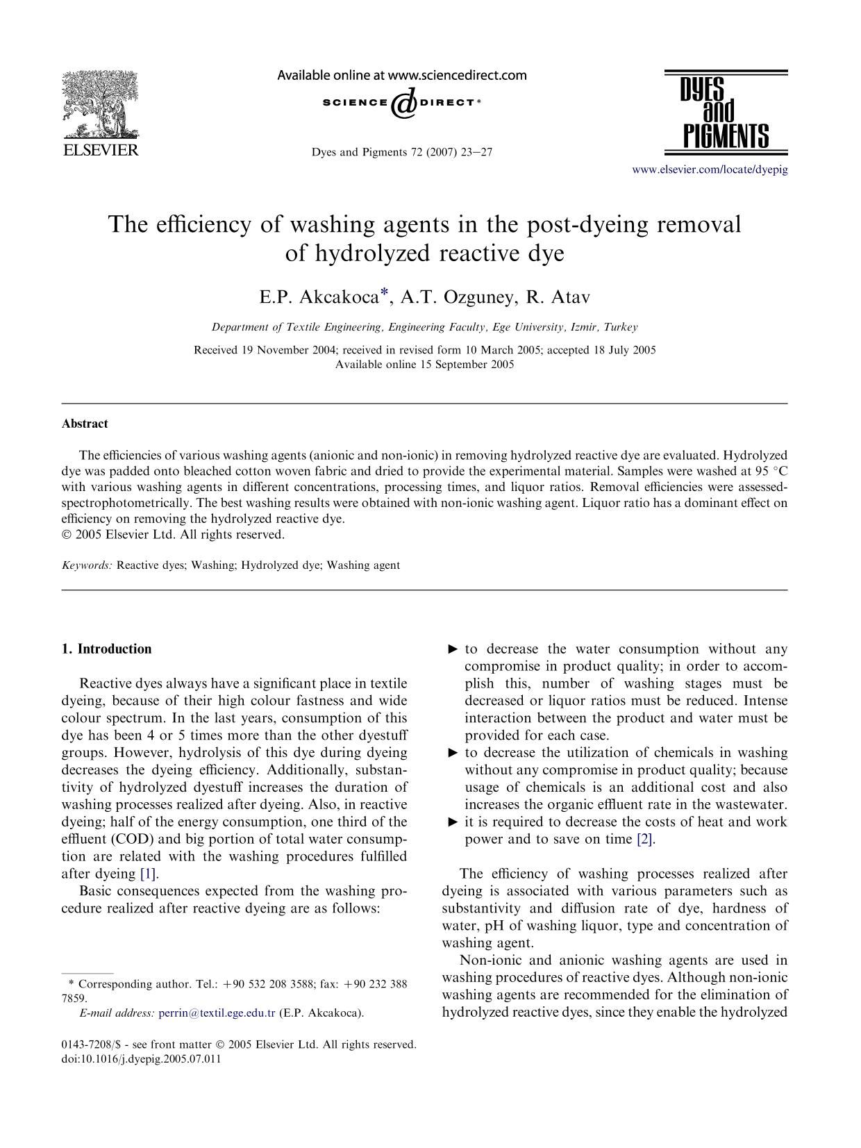 Обложка книги The efficiency of washing agents in the post-dyeing removal of hydrolyzed reactive dye