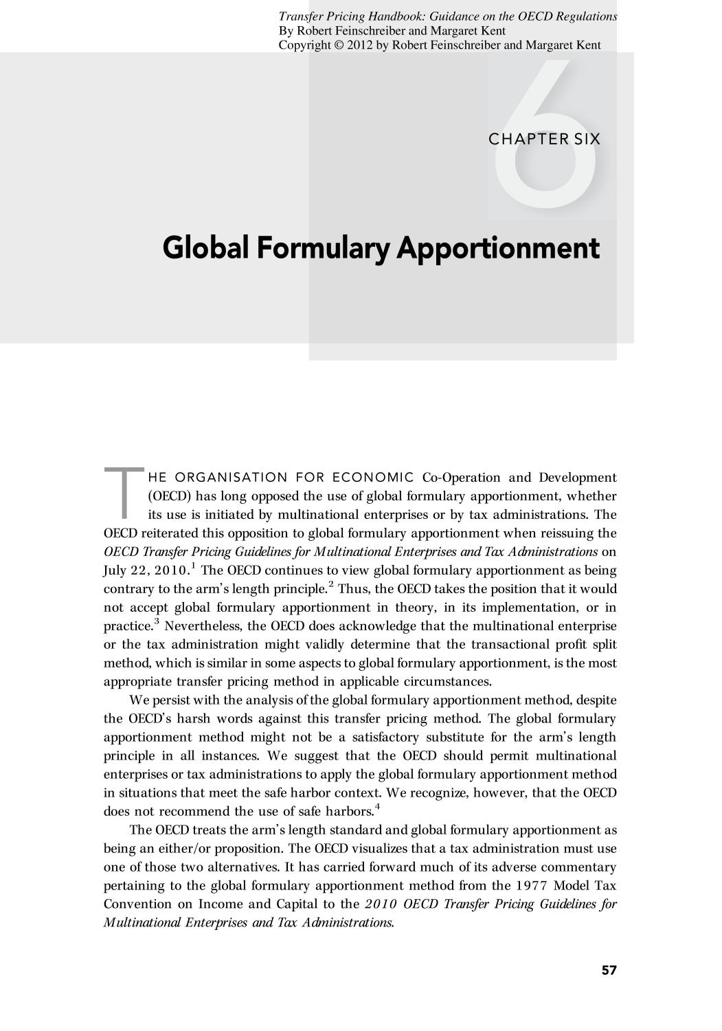 Book cover Transfer Pricing Handbook (Guidance on the OECD Regulations)    Global Formulary Apportionment