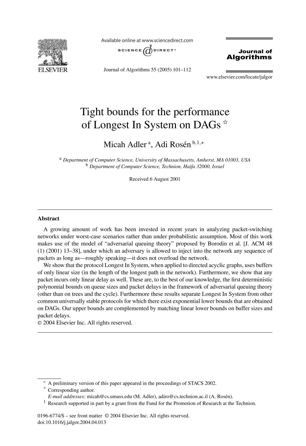 Book cover Tight bounds for the performance of Longest In System on DAGs