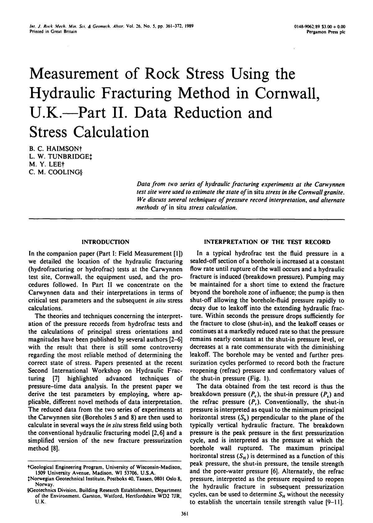 Book cover Measurement of rock stress using the hydraulic fracturing method in Cornwall, U.K.—Part II. Data reduction and stress calculation