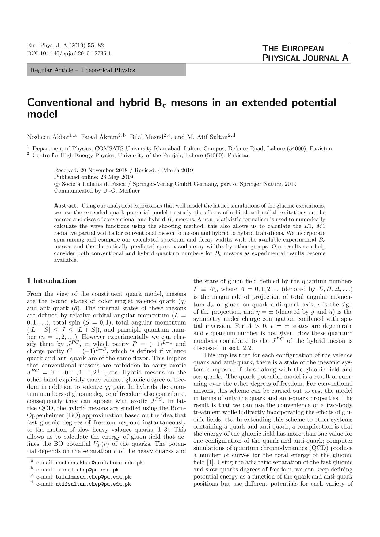 Book cover Conventional and hybrid Bc mesons in an extended potential model