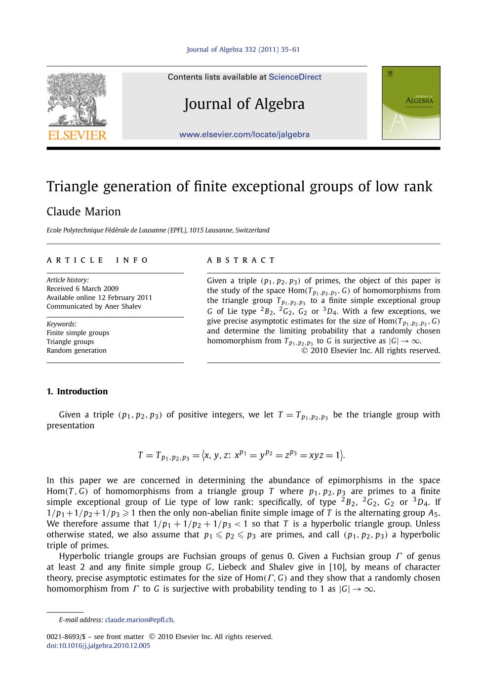 Book cover Triangle generation of finite exceptional groups of low rank
