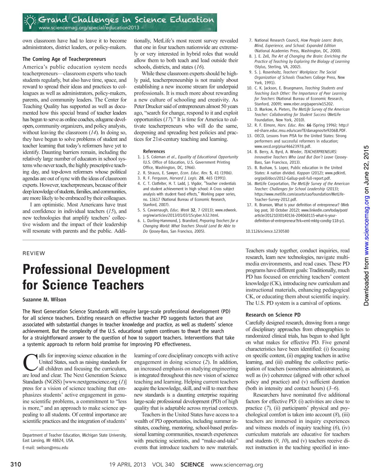 Book cover Professional Development for Science Teachers