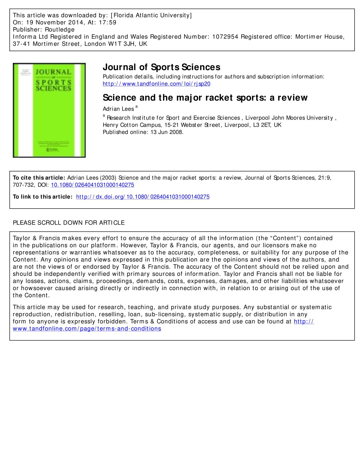 Book cover Science and the major racket sports: a review