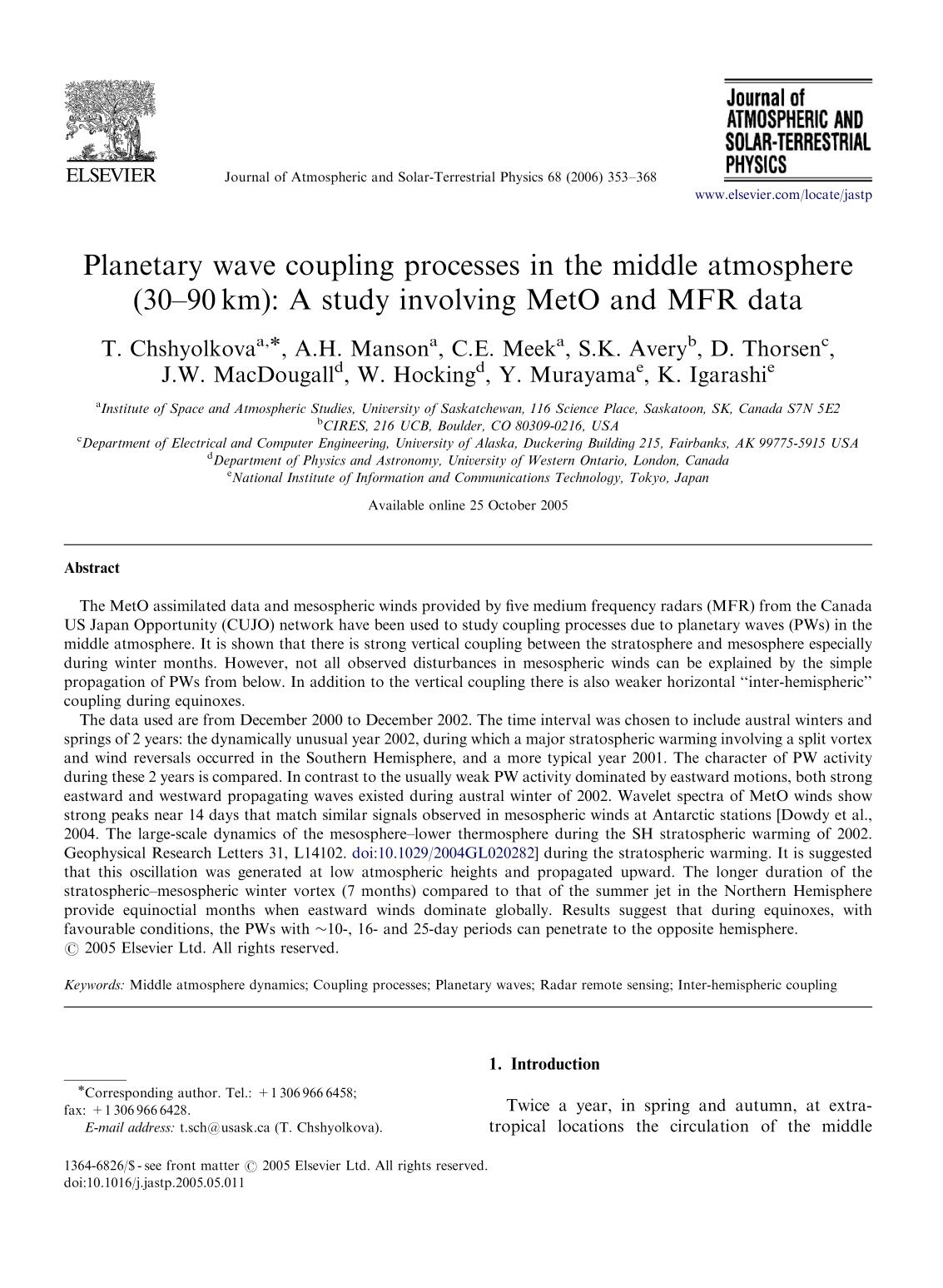 Book cover Planetary wave coupling processes in the middle atmosphere (30–90 km): A study involving MetO and MFR data