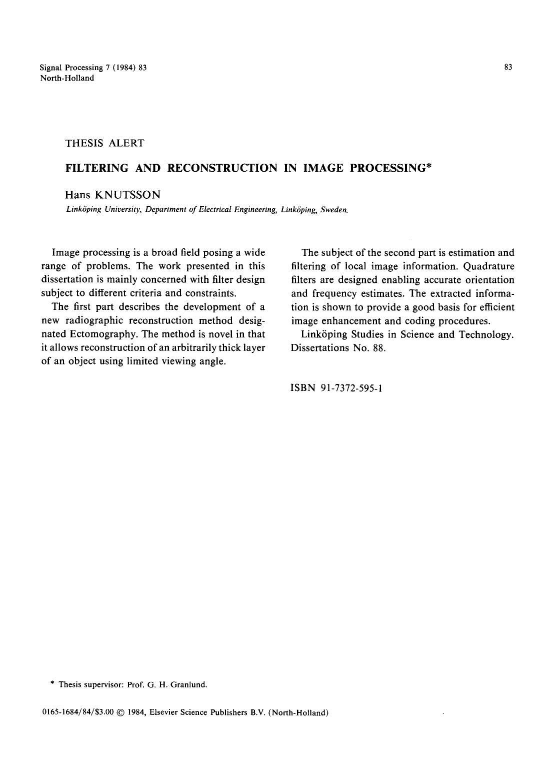 Book cover Filtering and reconstruction in image processing