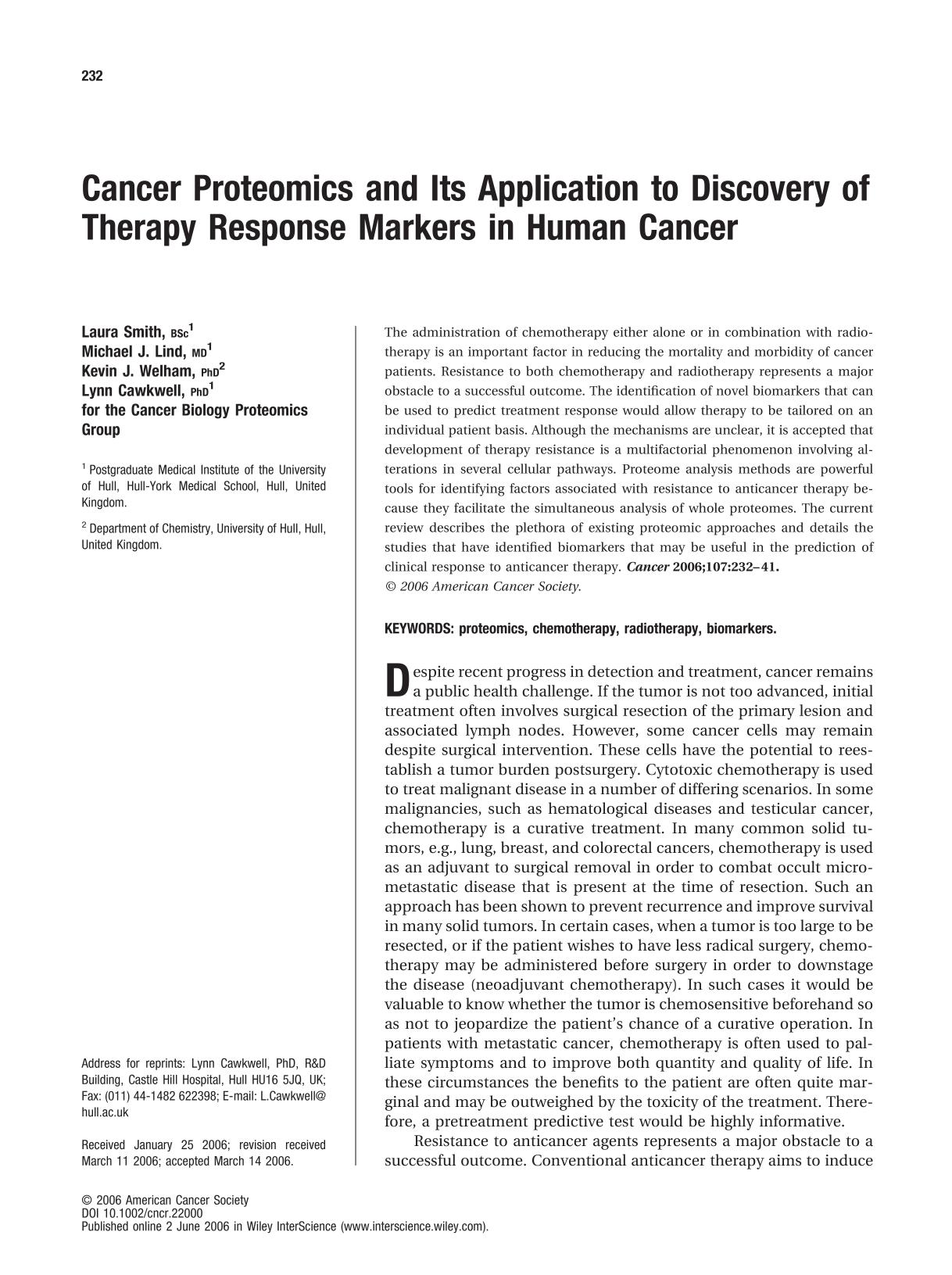 Book cover Cancer proteomics and its application to discovery of therapy response markers in human cancer