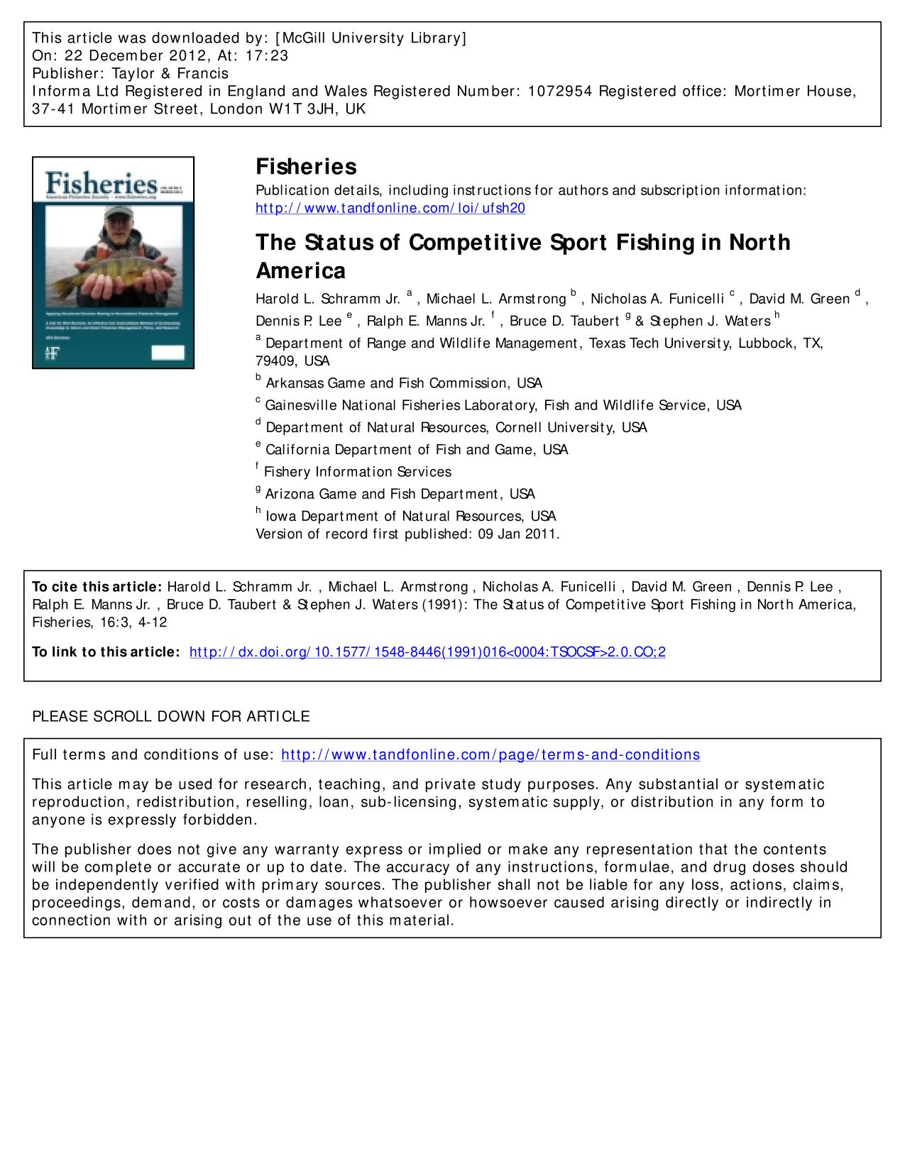 Обкладинка книги The Status of Competitive Sport Fishing in North America