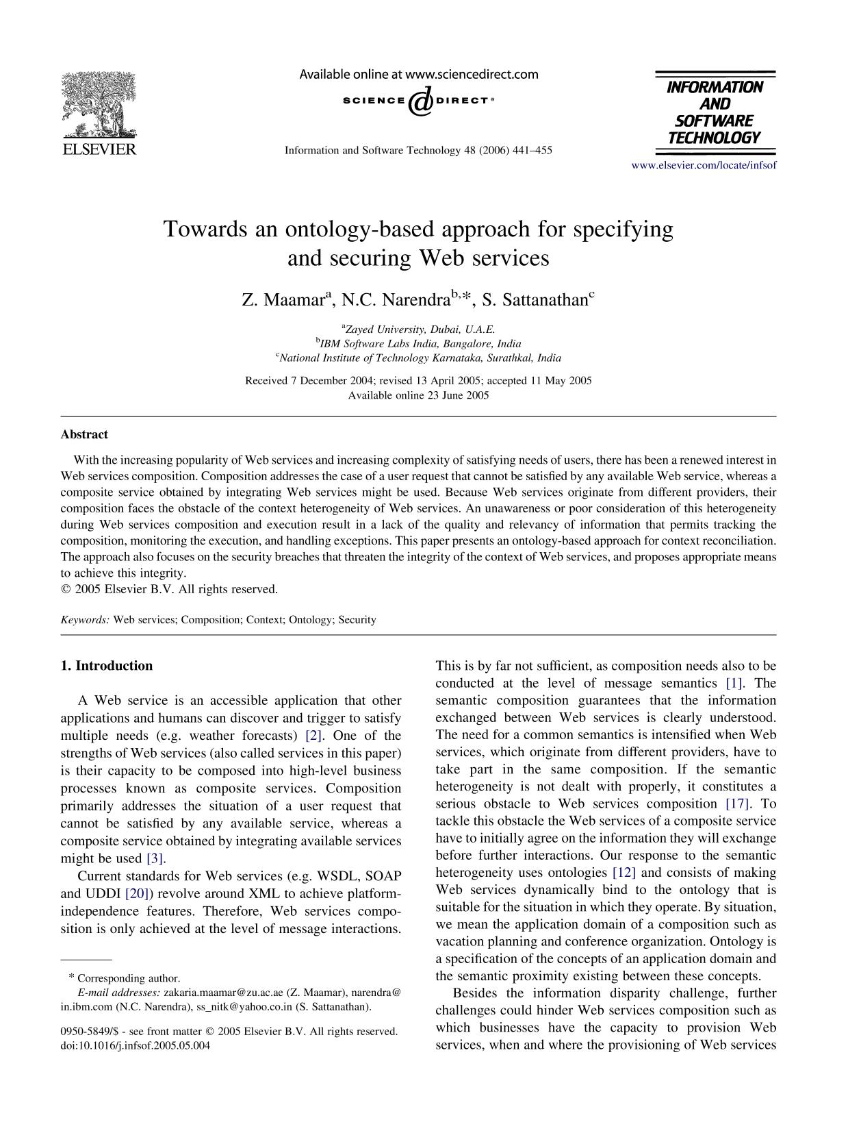 書籍の表紙 Towards an ontology-based approach for specifying and securing Web services