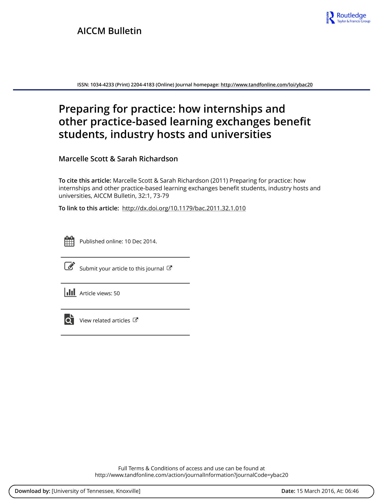 Book cover Preparing for practice: how internships and other practice-based learning exchanges benefit students, industry hosts and universities