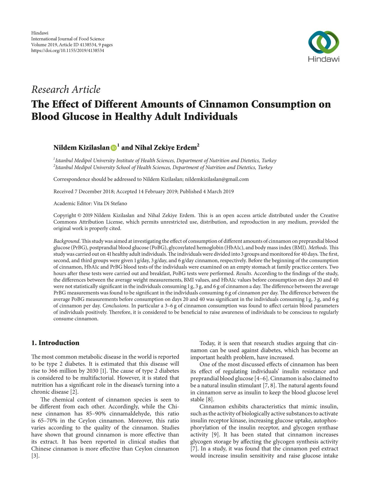 Book cover The Effect of Different Amounts of Cinnamon Consumption on Blood Glucose in Healthy Adult Individuals