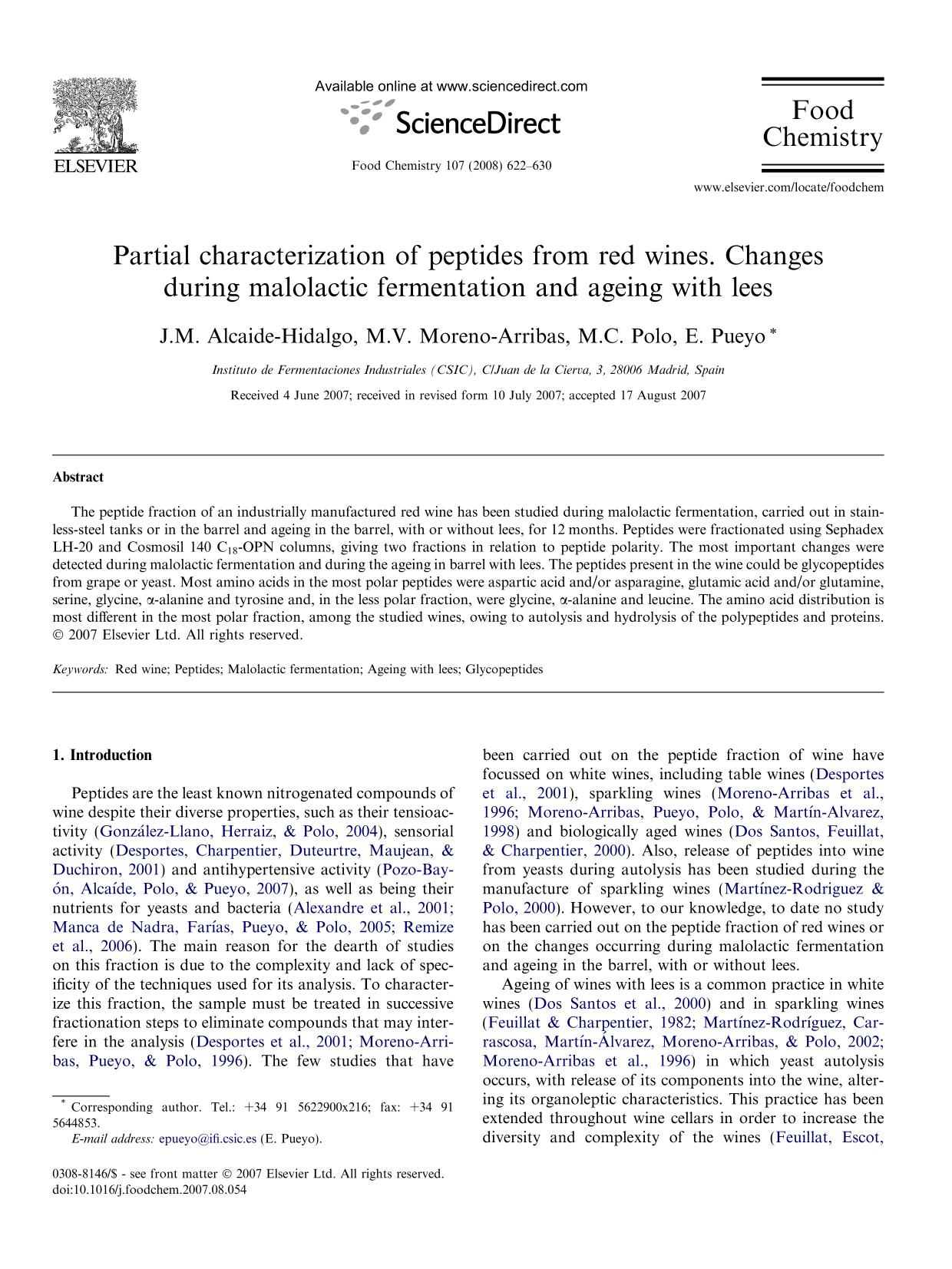 Book cover Partial characterization of peptides from red wines. Changes during malolactic fermentation and ageing with lees