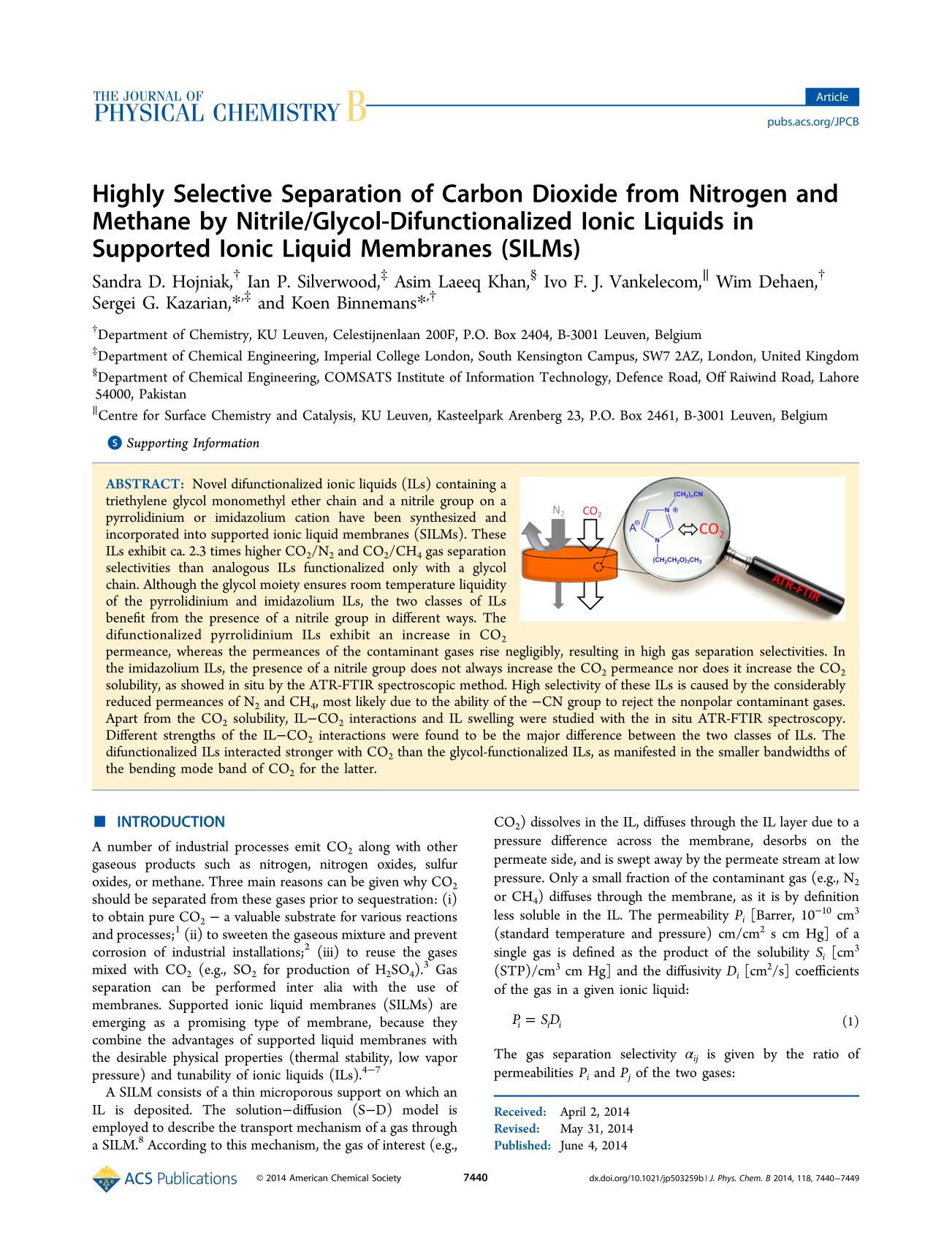 Book cover Highly Selective Separation of Carbon Dioxide from Nitrogen and Methane by Nitrile/Glycol-Difunctionalized Ionic Liquids in Supported Ionic Liquid Membranes (SILMs)