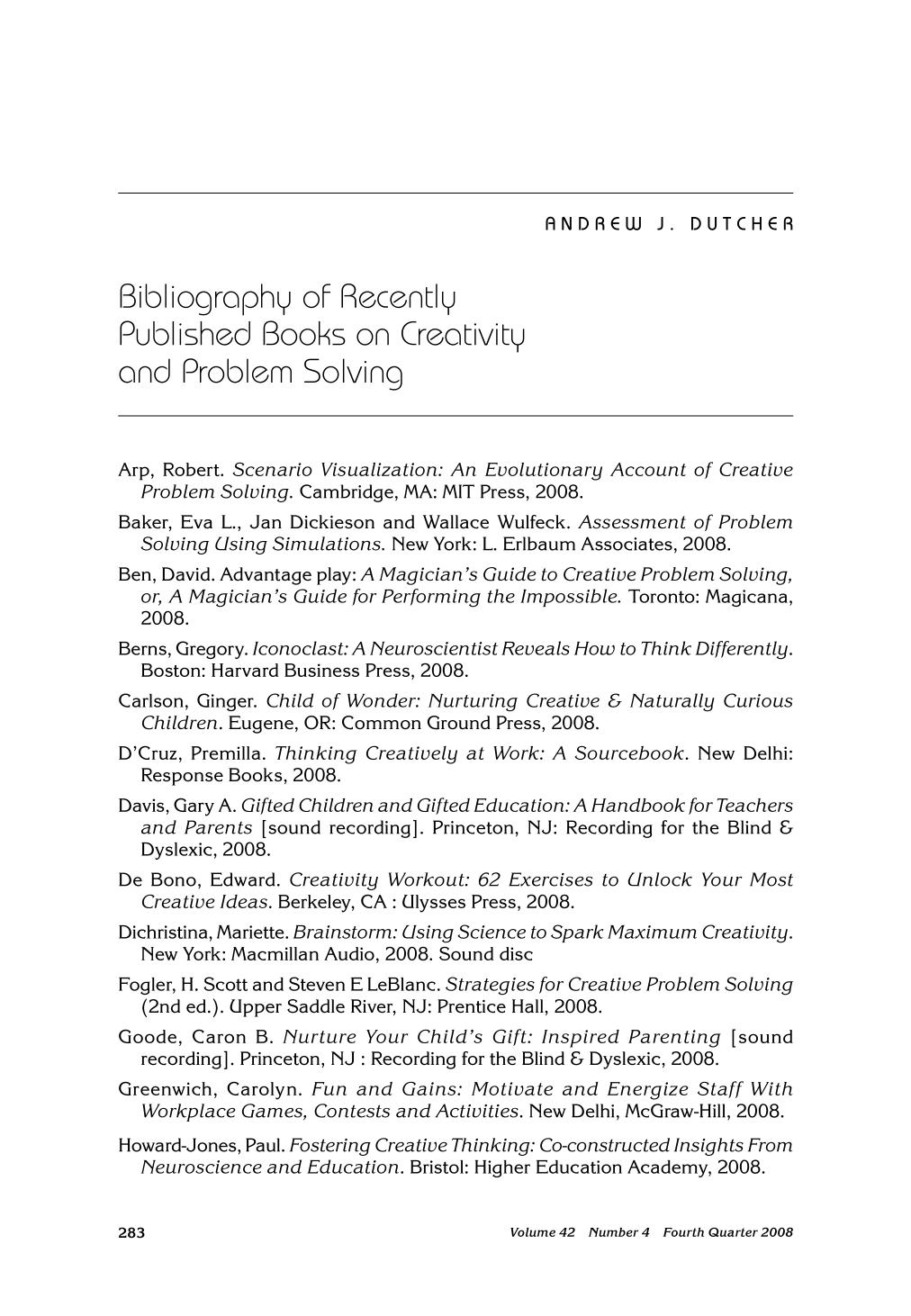 Book cover Bibliography of Recently Published Books on Creativity and Problem Solving
