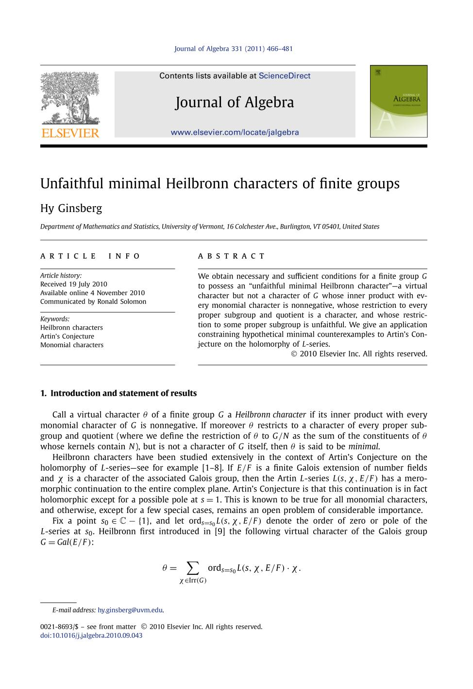 Book cover Unfaithful minimal Heilbronn characters of finite groups
