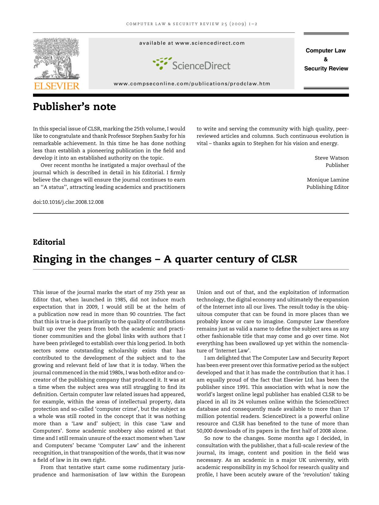 封面 Ringing in the changes – A quarter century of CLSR