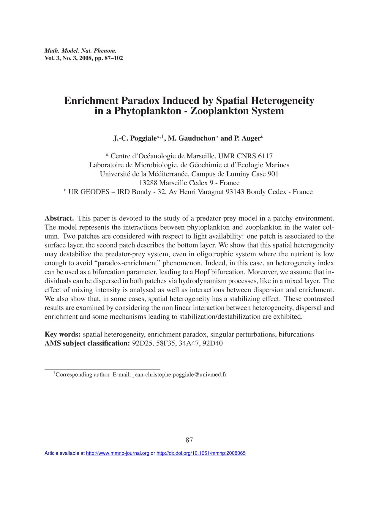 Copertina del libro Enrichment Paradox Induced by Spatial Heterogeneity in a Phytoplankton - Zooplankton System