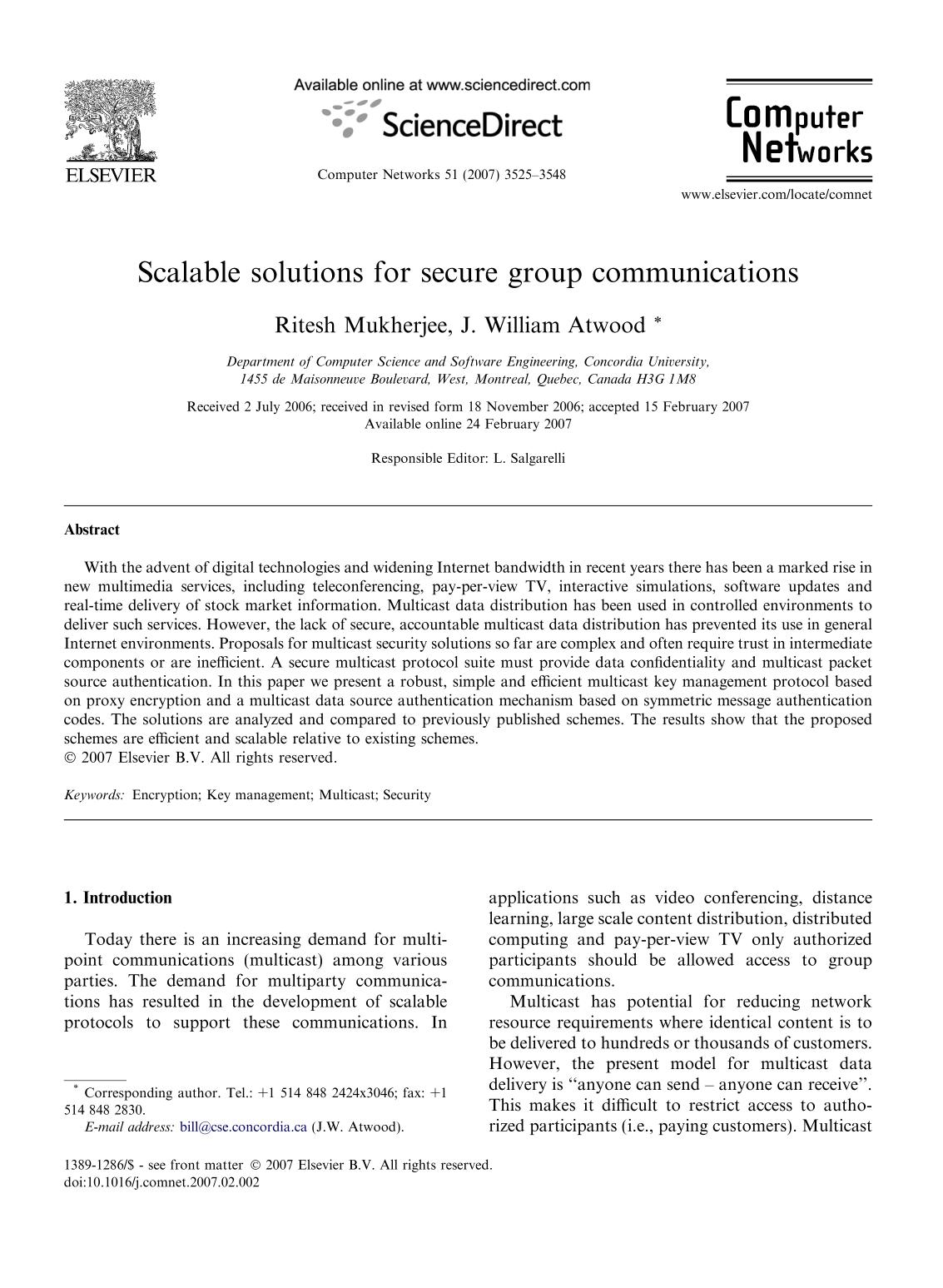 Book cover Scalable solutions for secure group communications