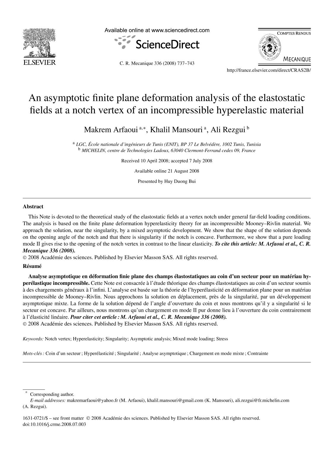 Book cover An asymptotic finite plane deformation analysis of the elastostatic fields at a notch vertex of an incompressible hyperelastic material