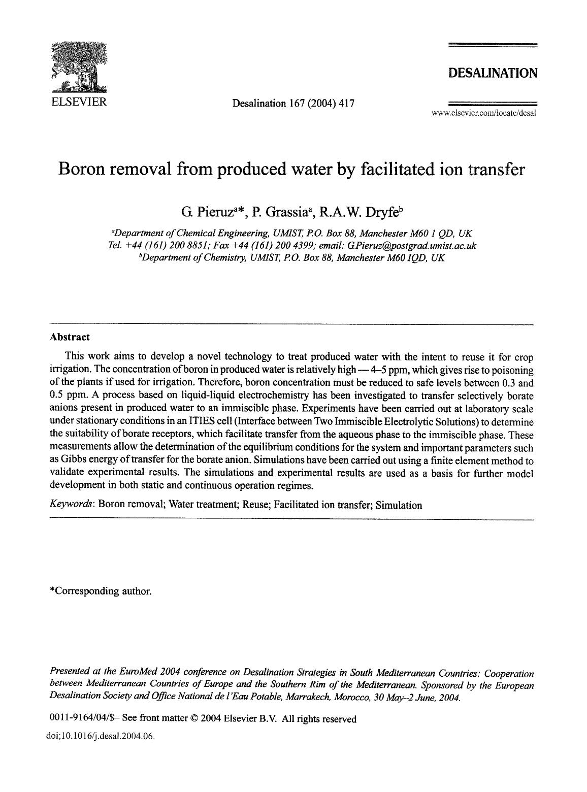 Book cover Boron removal from produced water by facilitated ion transfer