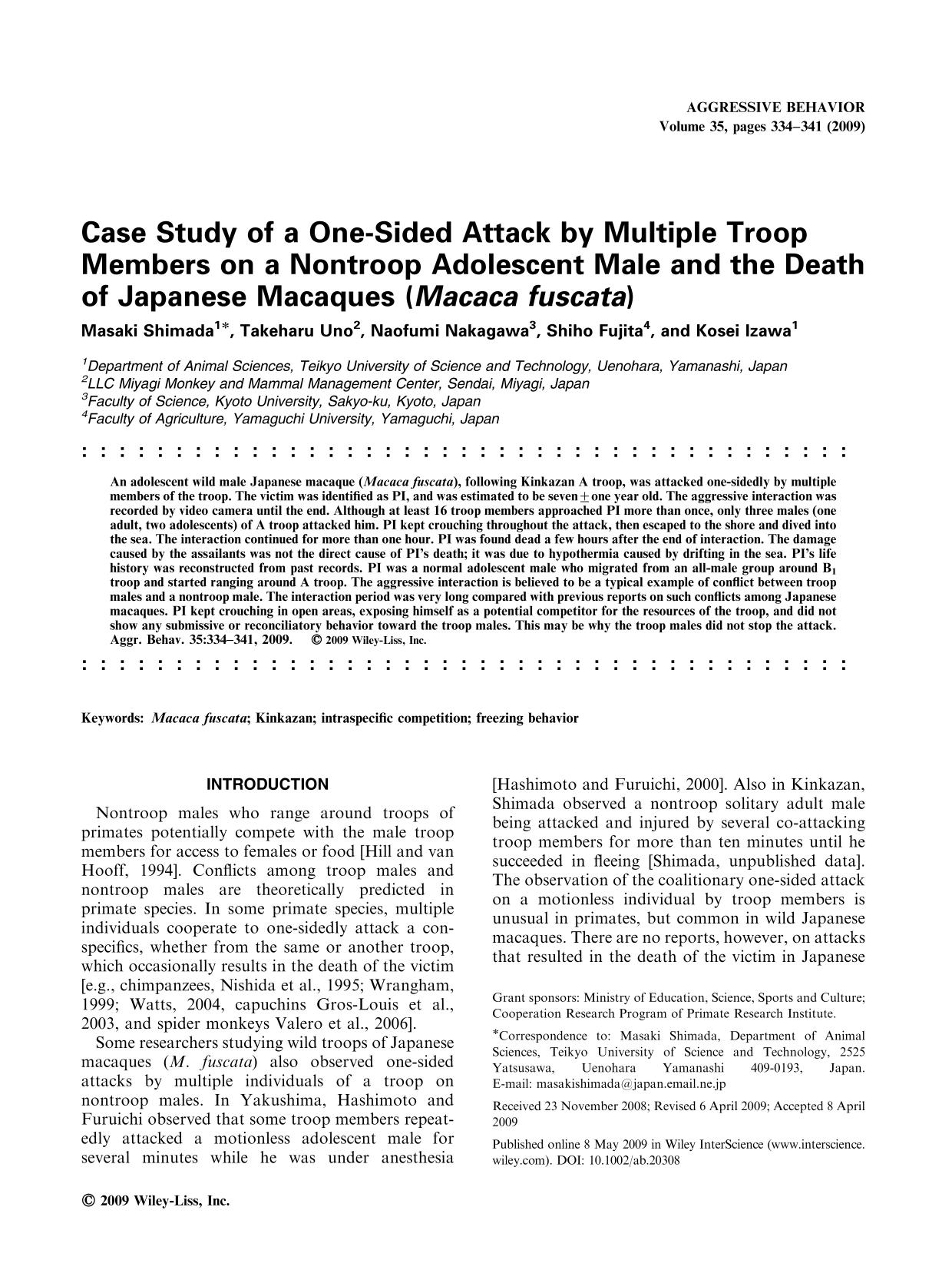 Book cover Case study of a one-sided attack by multiple troop members on a nontroop adolescent male and the death of Japanese macaques (<em>Macaca fuscata</em>)