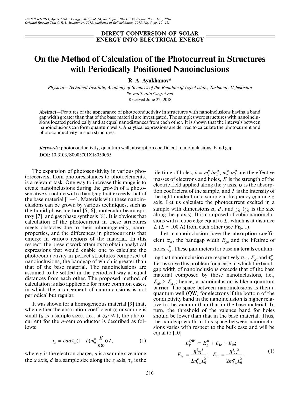 Book cover On the Method of Calculation of the Photocurrent in Structures with Periodically Positioned Nanoinclusions