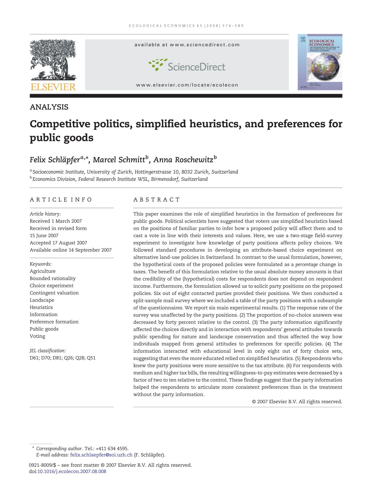 Book cover Competitive politics, simplified heuristics, and preferences for public goods