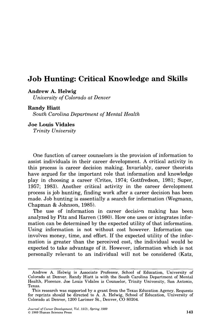 Book cover Job hunting: Critical knowledge and skills