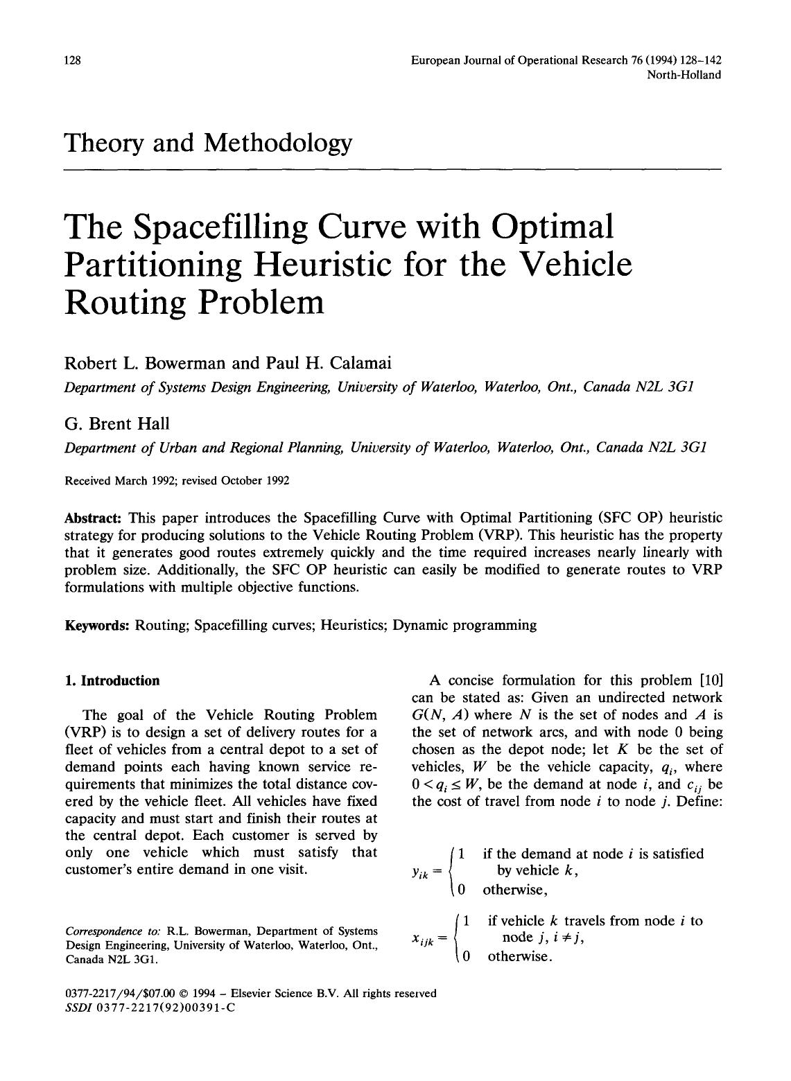 Book cover The spacefilling curve with optimal partitioning heuristic for the vehicle routing problem
