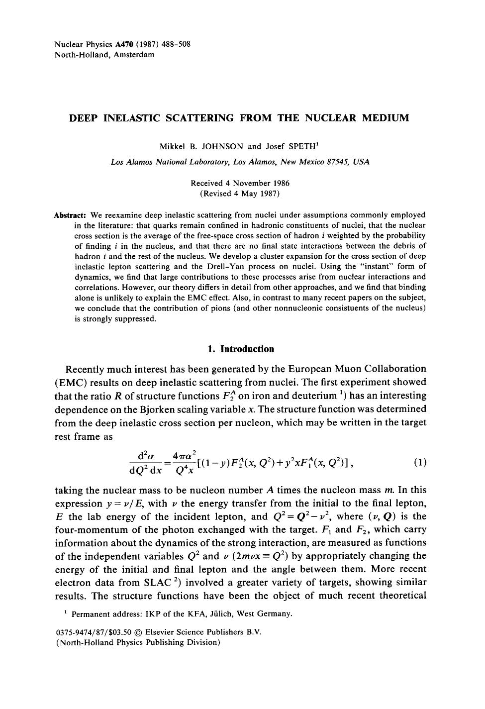 Обложка книги Deep inelastic scattering from the nuclear medium