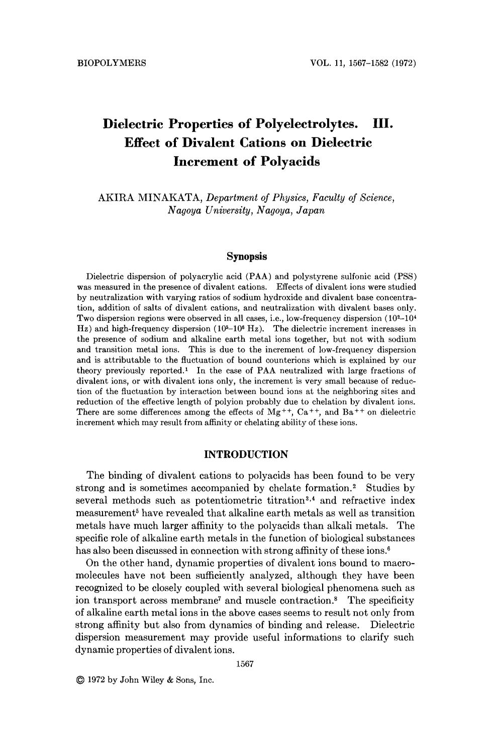 Book cover Dielectric properties of polyelectrolytes. III. Effect of divalent cations on dielectric increment of polyacids
