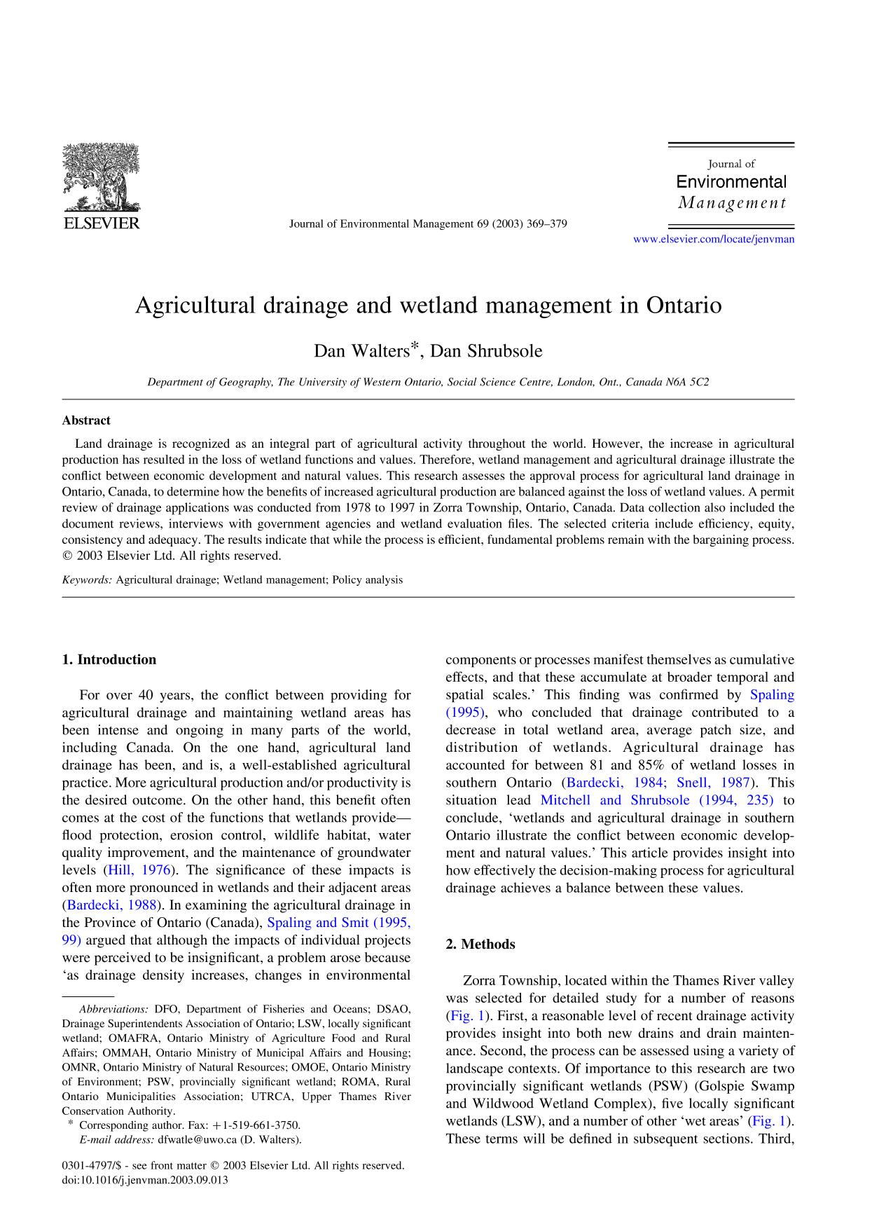 Book cover Agricultural drainage and wetland management in Ontario