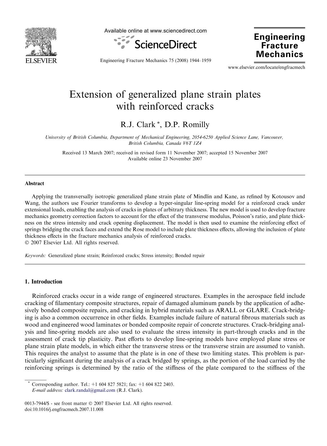 Book cover Extension of generalized plane strain plates with reinforced cracks