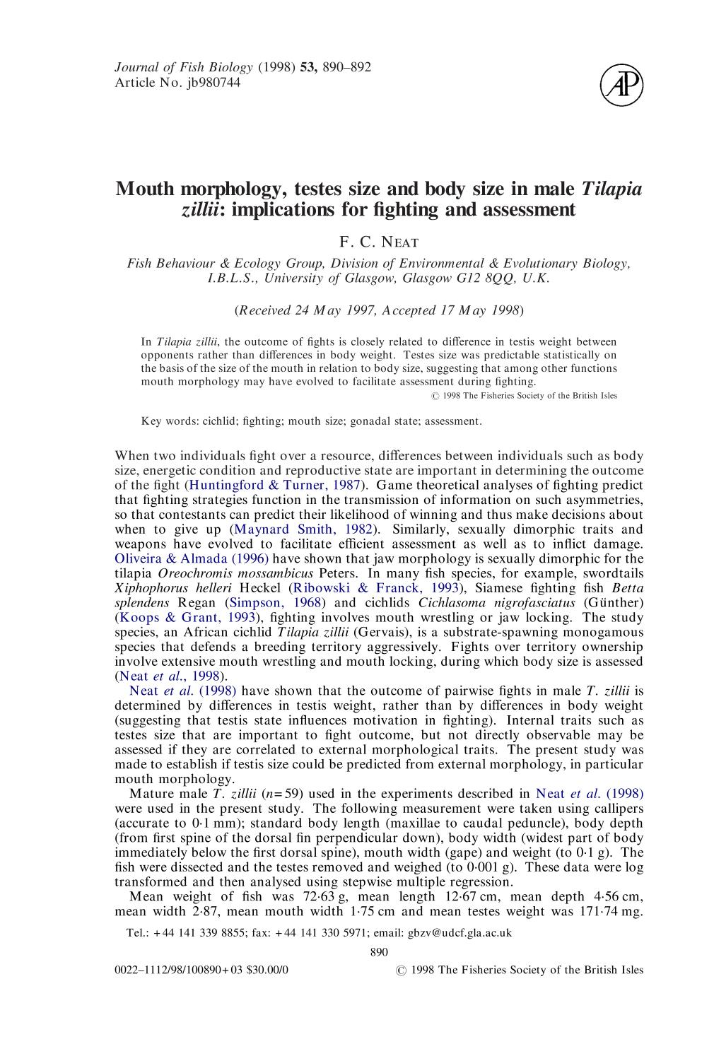 Book cover Mouth morphology, testes size and body size in male <em>Tilapia zillii</em>: implications for fighting and assessment
