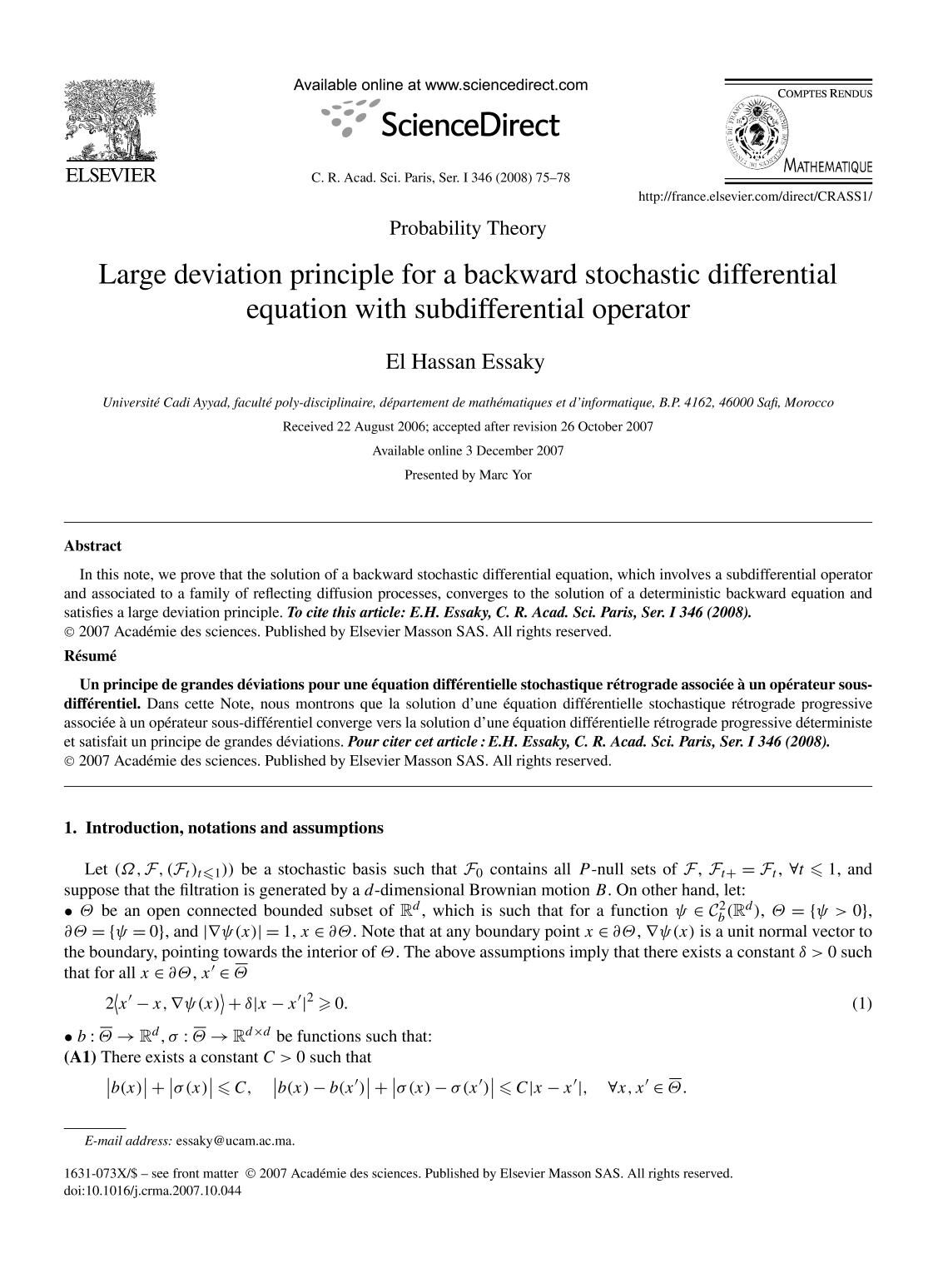 Book cover Large deviation principle for a backward stochastic differential equation with subdifferential operator