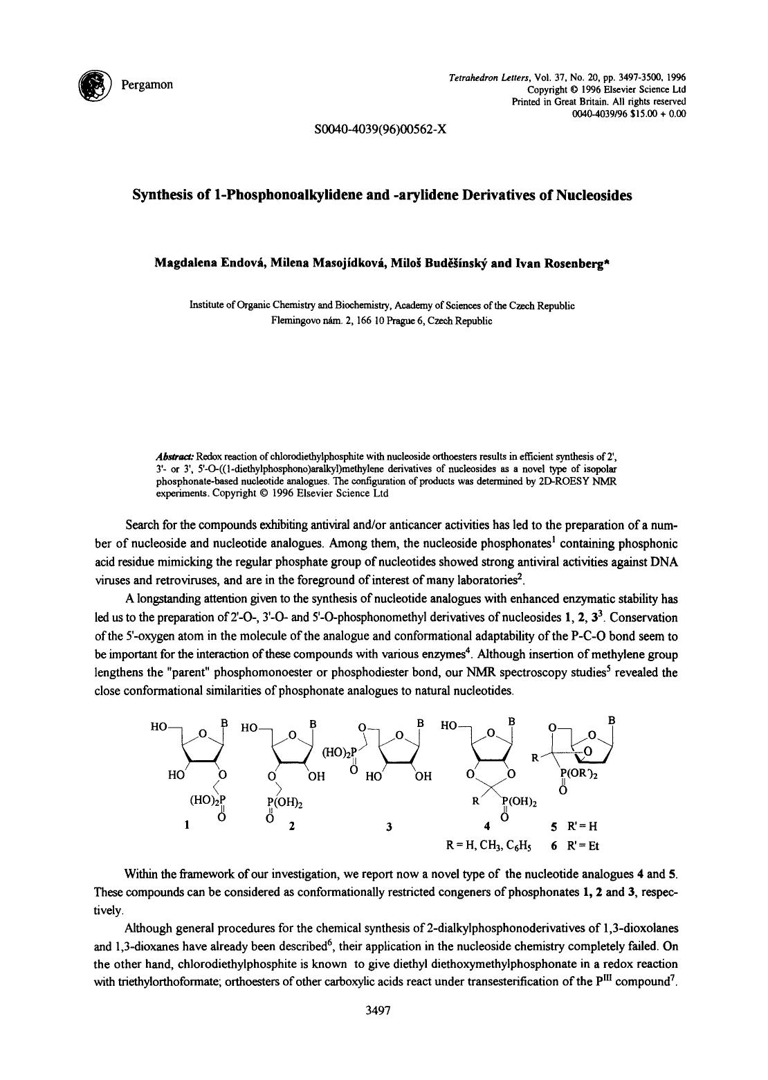 Book cover Synthesis of 1-phosphonoalkylidene and -arylidene derivatives of nucleosides
