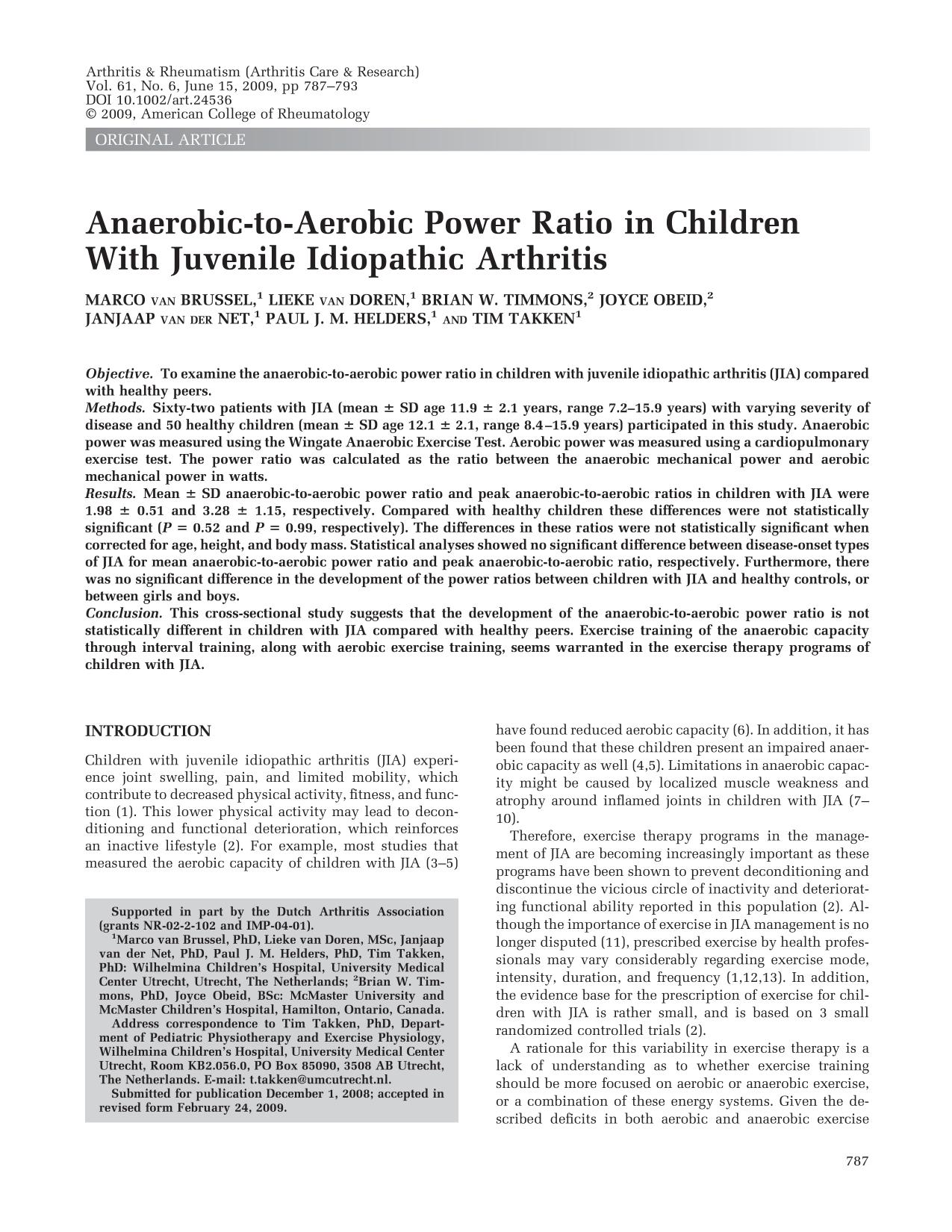 Book cover Anaerobic-to-aerobic power ratio in children with juvenile idiopathic arthritis