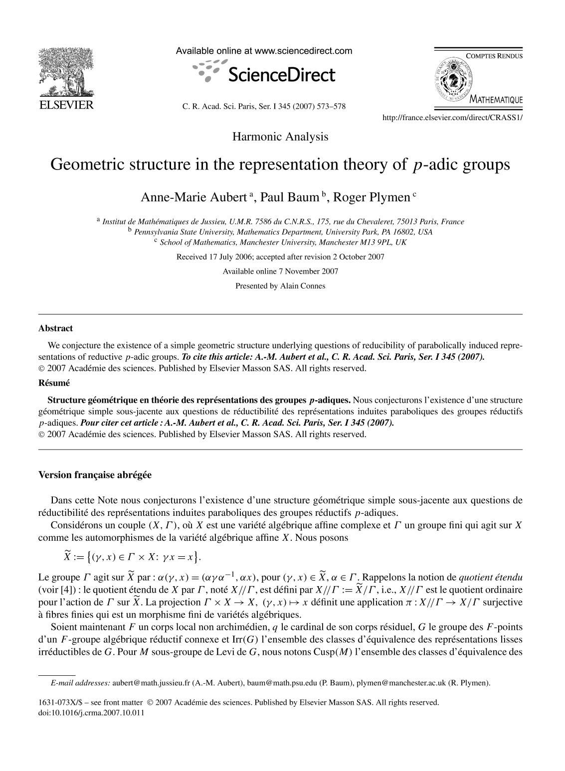 Book cover Geometric structure in the representation theory of p-adic groups