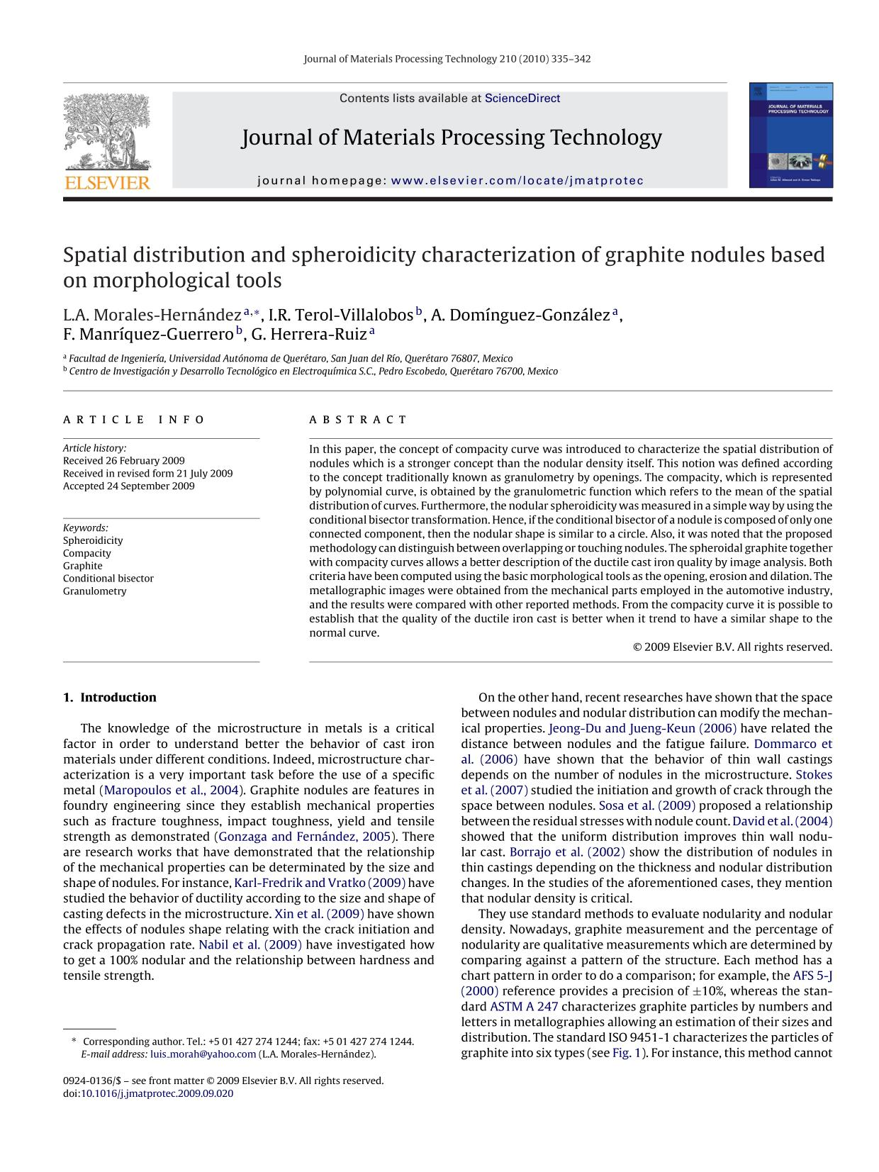 Book cover Spatial distribution and spheroidicity characterization of graphite nodules based on morphological tools