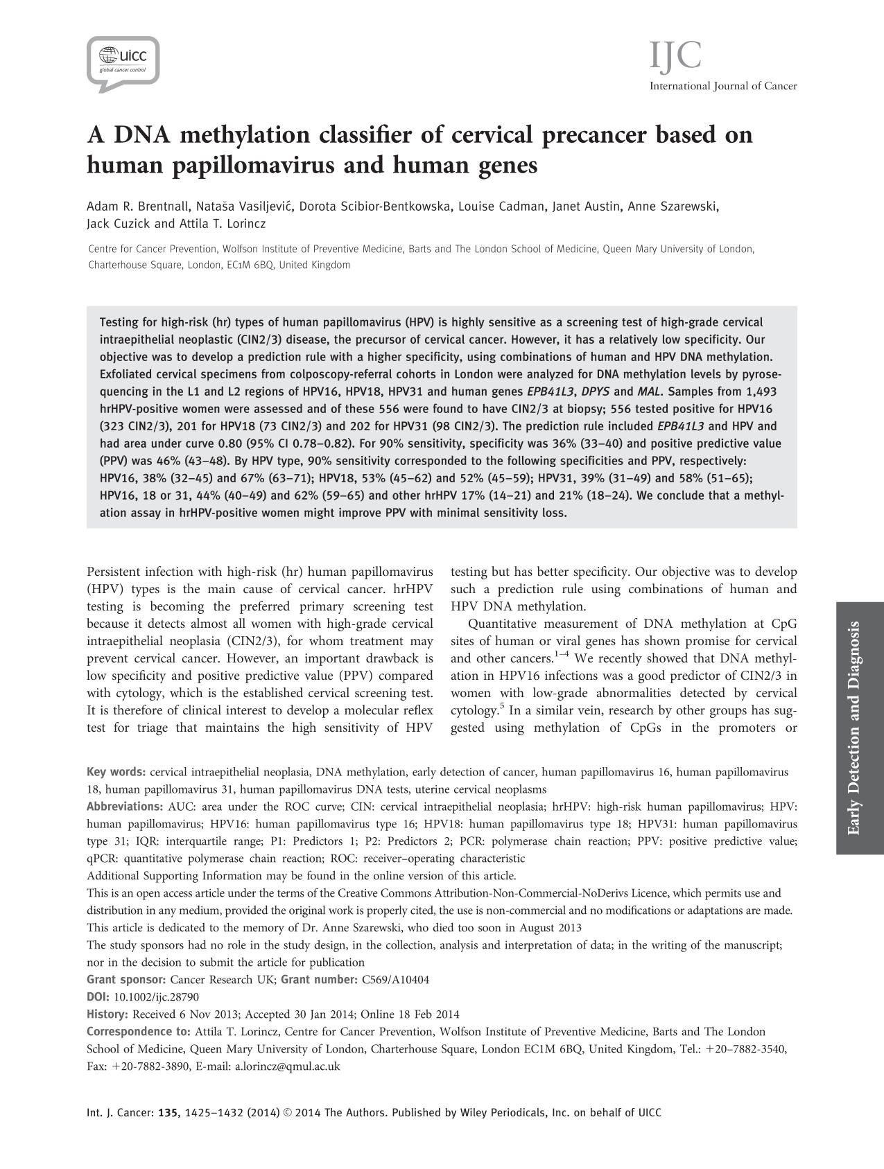 Book cover A DNA methylation classifier of cervical precancer based on human papillomavirus and human genes