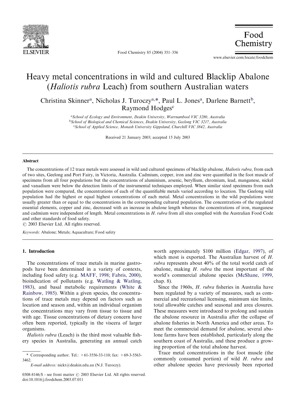 Book cover Heavy metal concentrations in wild and cultured Blacklip Abalone (Haliotis rubra Leach) from southern Australian waters