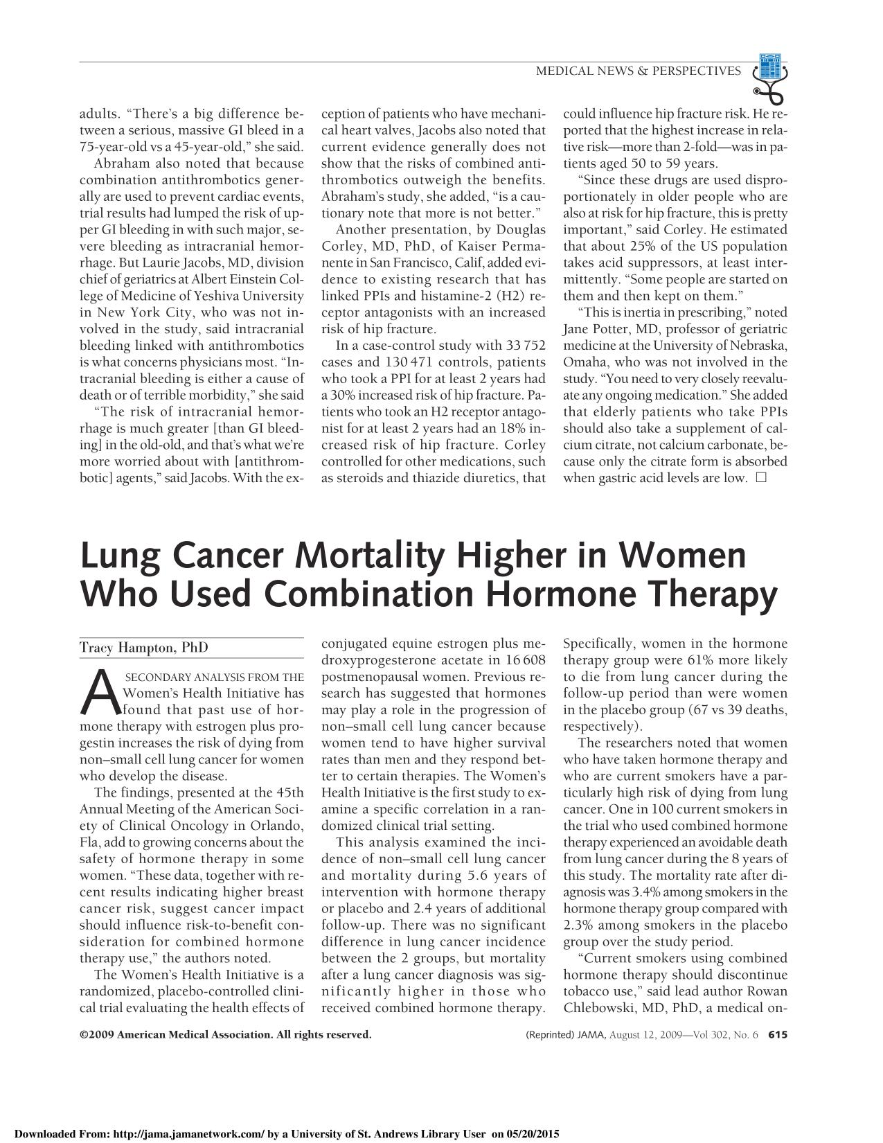 Book cover Lung Cancer Mortality Higher in Women Who Used Combination Hormone Therapy